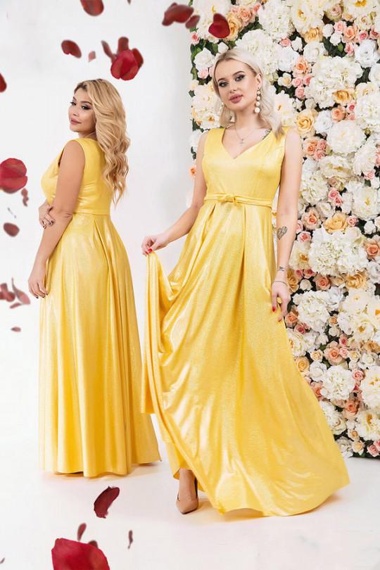Вечернее желтое перламутровое платье  Арт. 1196