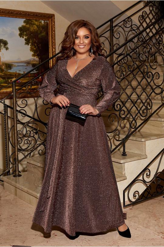 Вечернее коричневое платье с V-образным вырезом  Арт. 1252
