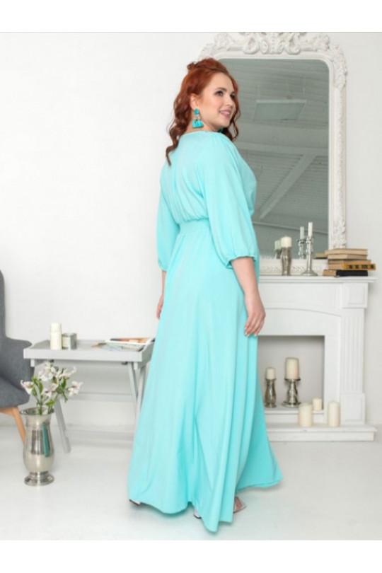 Вечернее голубое платье с V-образным вырезом  Арт. 1262