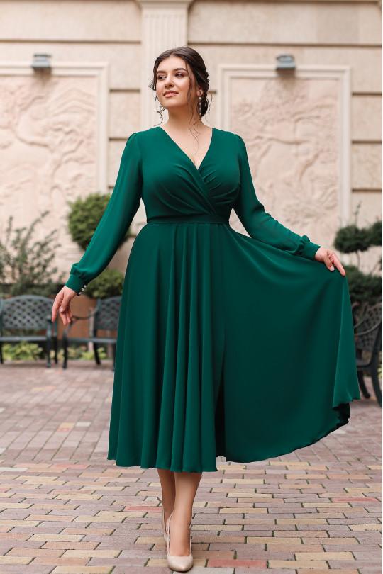Изумрудное нарядное платье из шелка Арт. 1275