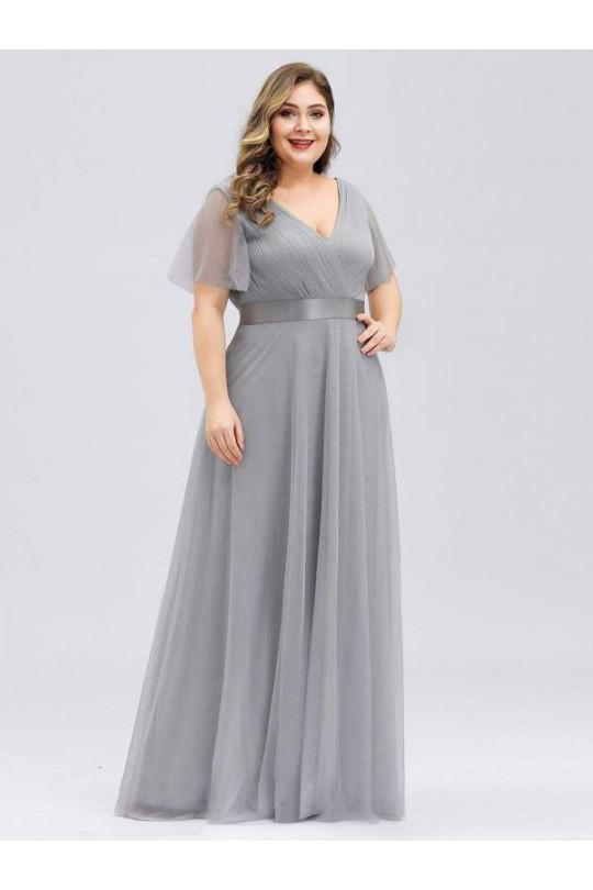 Вечернее платье большого размера Светло серый Арт. 1332