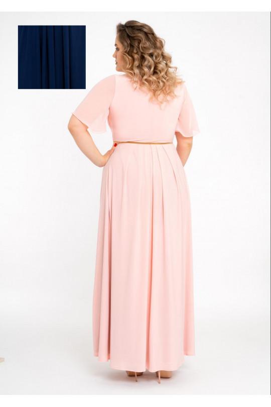 Темно синее вечернее платье в пол  Арт. 1338
