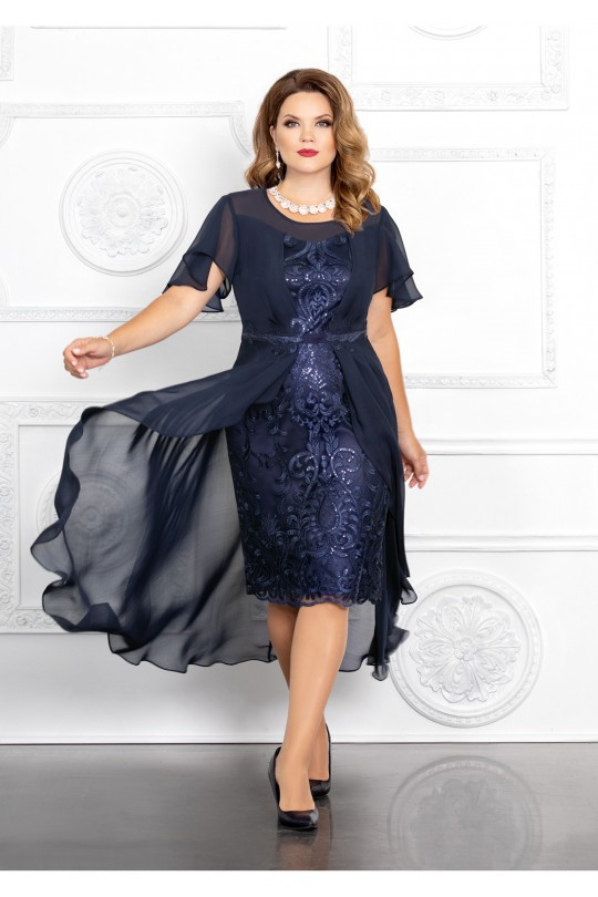 Темно синее нарядное платье Арт. 1365