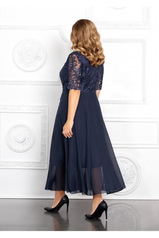 Темно синее вечернее платье Арт. 1366