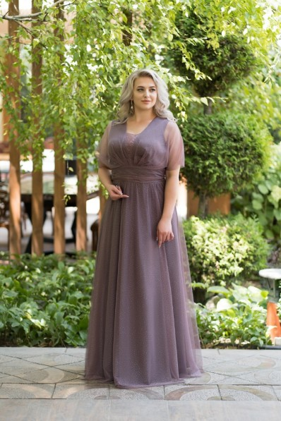 Вечернее платье на полную фигуру. Цвет Мокко Арт. 1376