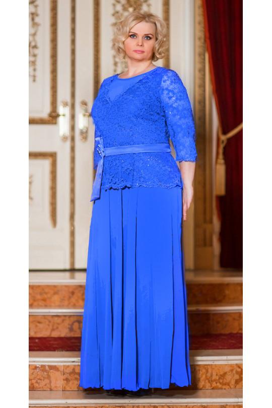 Вечернее платье с длинным рукавом цвет электрик  Арт. 795