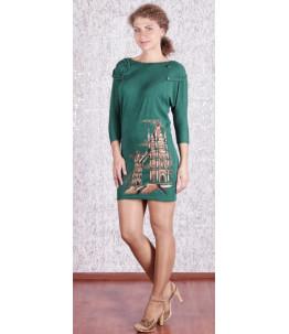 Стильное трикотажное платье. Изумруд Арт. 677