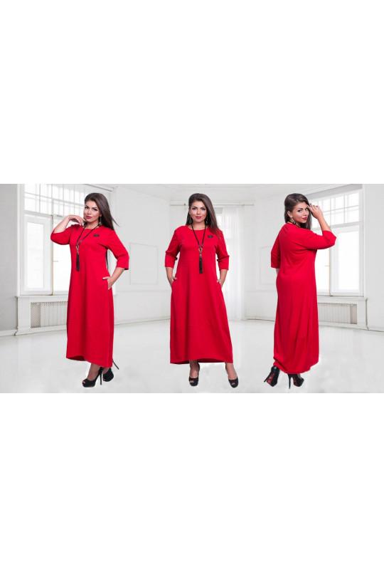 Красное длинное платье большого размера Арт. 811