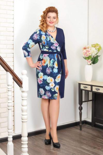 Платье с запахом синие цветы  Арт. 1001