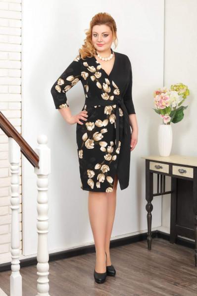Платье с запахом Золотые тюльпаны Арт. 1002