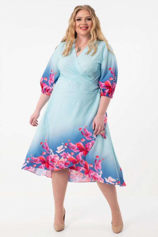 Нежно голубое платье с запахом  Арт. 1057