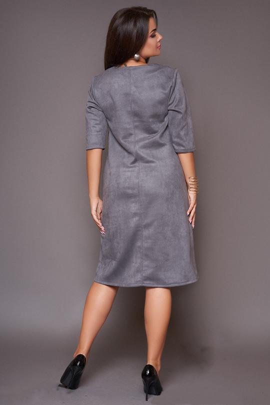 Серое замшевое платье трапеция  Арт. 1079