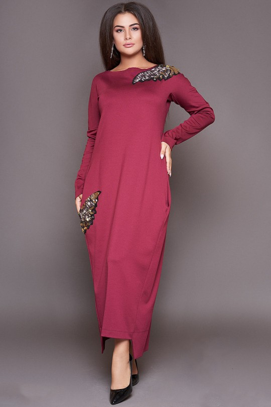 Длинное молодежное платье большого размера  Арт. 1083