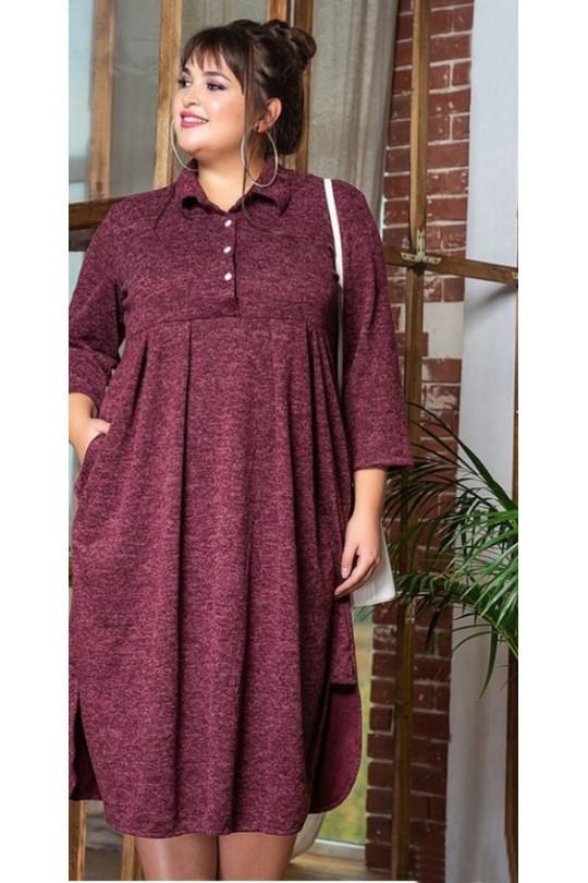 Бордовое повседневное платье большого размера Арт. 1115