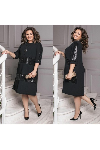 Черное платье большого размера Арт. 1227