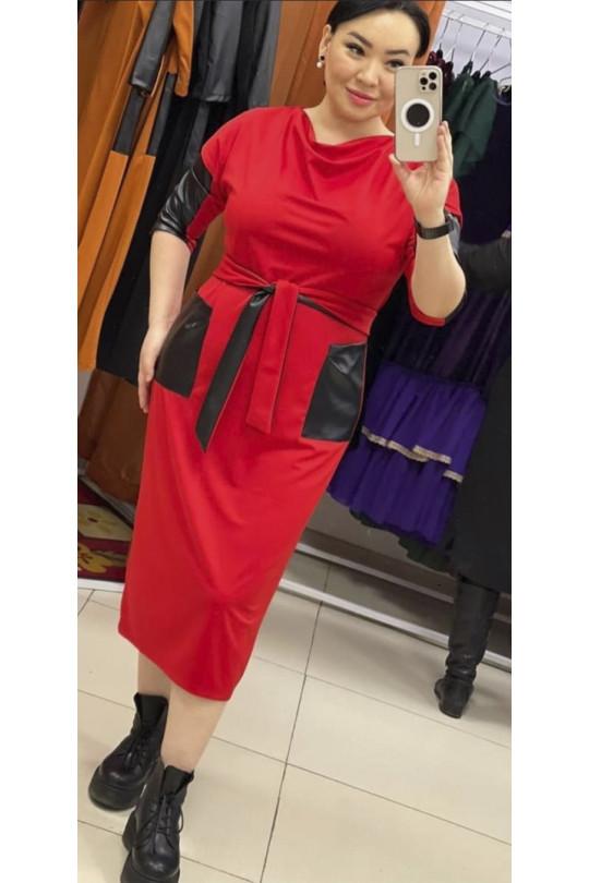 Красное длинное платье с кожаными вставками Арт. 1289