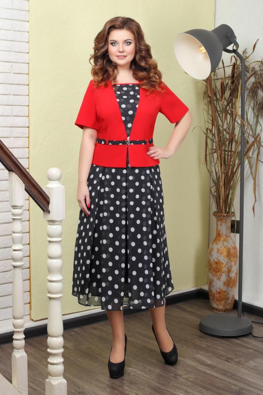 Элегантное платье в горох Красный Арт. 820