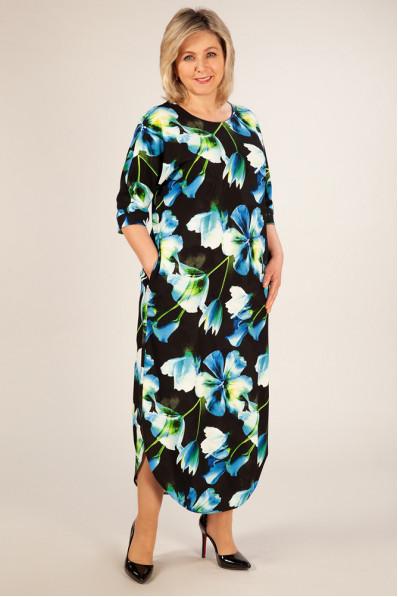 Повседневное платье Голубые цветы Арт. 968