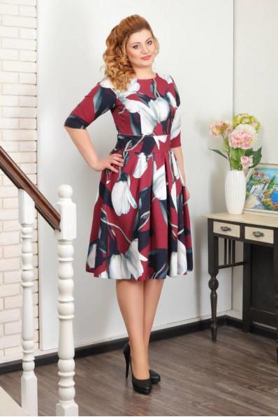 Бордовое платье с юбкой колокол  Арт. 997