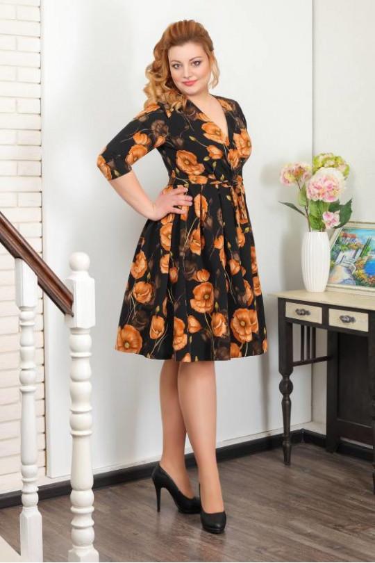 Коричневое платье с юбкой колокол Арт. 999